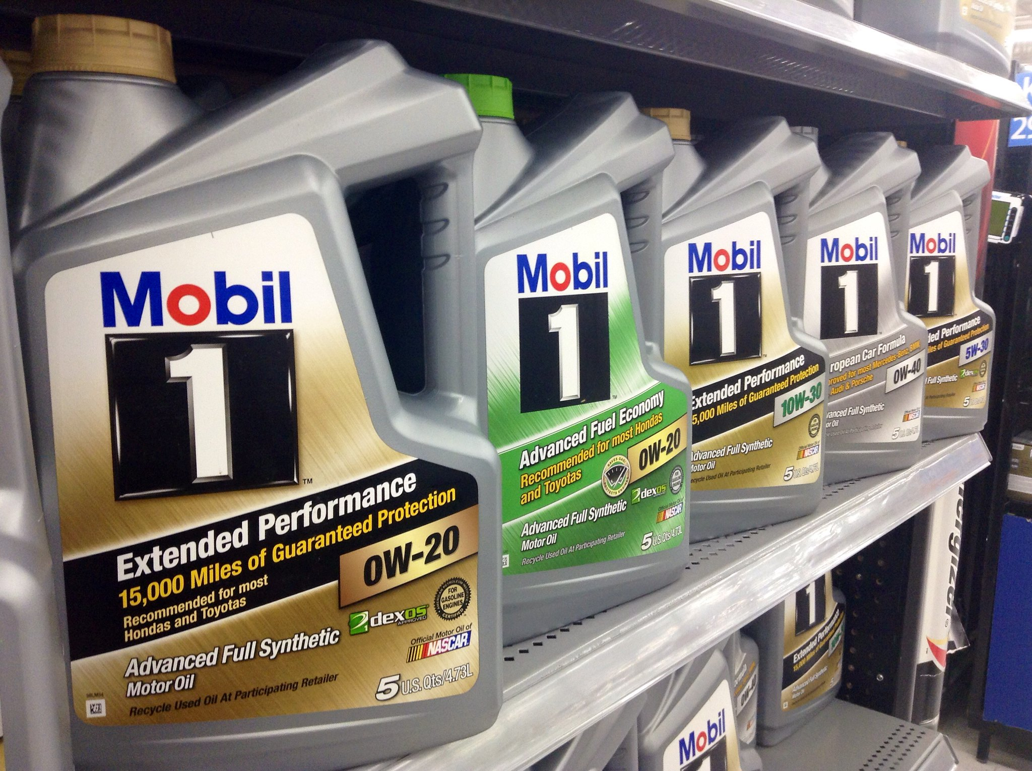 Mobil 1 engine oil bottles on the shelf