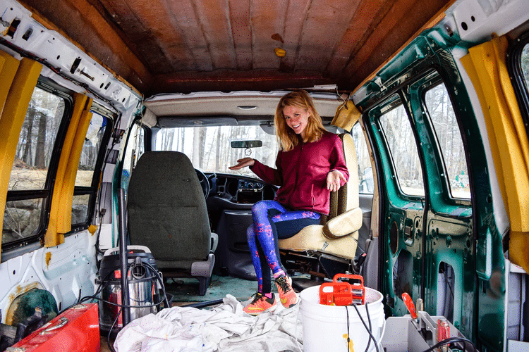 Woman in the van